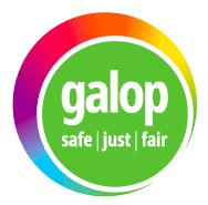 Rainbow colour logo for Galop