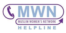MWN Helpline logo - blue and purple