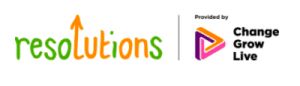 Orange and green logo for Resolutions