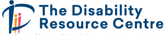 Blue, orange and pink logo for The Disability Resource Centre