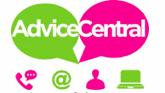 Pink and green Advice Central logo